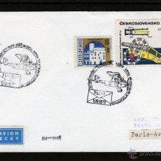 Sellos: CHECOSLOVAQUIA PRIMER VUELO LETECKY, PRAGA - PARIS AVIATION 1970, REPUBLICA CHECA. Lote 43957982