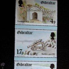 Sellos: GIBRALTAR. 477/79 FORTALEZAS DEL SIGLO XVIII**. 1983. SELLOS NUEVOS Y NUMERACIÓN YVERT.. Lote 47040862