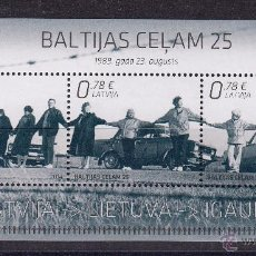Sellos: LETONIA 2014 HOJA BLOQUE. EMISION CONJUNTA CON PAISES BALTICOS. Lote 49058937