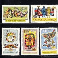 Sellos: CHECOSLOVAQUIA 1230/34** - AÑO 1962 - EXPOSICION FILATELICA INTERNACIONAL PRAGA 62. Lote 52494559