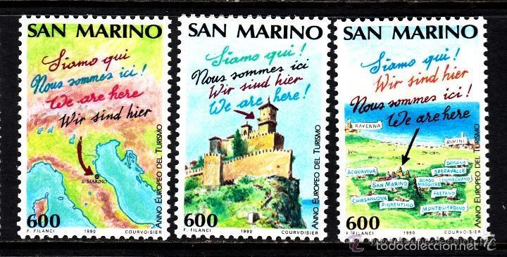 SAN MARINO 1990 IVERT 1229/31 *** AÑO EUROPEO DEL TURISMO (I) (Sellos - Extranjero - Europa - Otros paises)