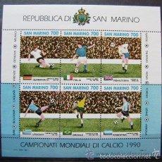 Sellos: SAN MARINO 1990 HB IVERT 16 *** COPA DEL MUNDO DE FUTBOL - ITALIA-90 - DEPORTES. Lote 58395092