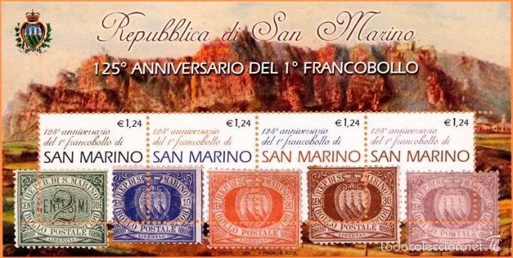 SAN MARINO 2002 HB IVERT 32 *** 125º ANIVERSARIO DEL PRIMER SELLO DE SAN MARINO (Sellos - Extranjero - Europa - Otros paises)