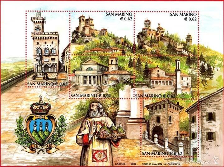 SAN MARINO 2002 HB IVERT 33 *** TURISMO - MONUMENTOS - PALACIOS, IGLESIAS Y BASILICA (Sellos - Extranjero - Europa - Otros paises)