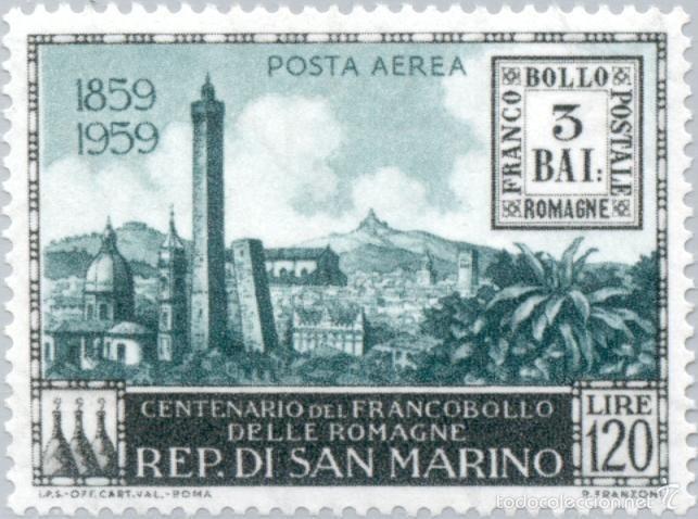 SAN MARINO 1959 AEREO IVERT 119 *** CENTENARIO DEL SELLO DE ROMAÑA - MONUMENTOS (Sellos - Extranjero - Europa - Otros paises)