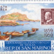 Sellos: SAN MARINO 1959 AEREO IVERT 120 *** CENTENARIO DEL SELLO DE SICILIA - PUETO DE PALERMO. Lote 58412856