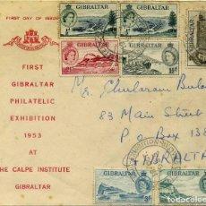 Sellos: 1953 GIBRALTAR YV. 130 AL 135 PRIMERA EXHIBICION FILATÉLICA. Lote 66501890