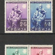 Sellos: SERBIA, 1942, PRO OBRAS POPULARES, MNH** Y MH, PARES. Lote 70161014