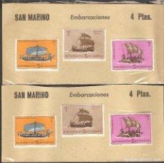 Sellos: TARJETAS CON 3 VALORES, 6 SELLOS SAN MARINO.. Lote 73573683