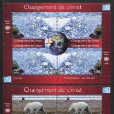 Sellos: NACIONES UNIDAS (SEDE GINEBRA) - CAMBIO CLIMATICO - 2 HB (2008) **. Lote 84746992
