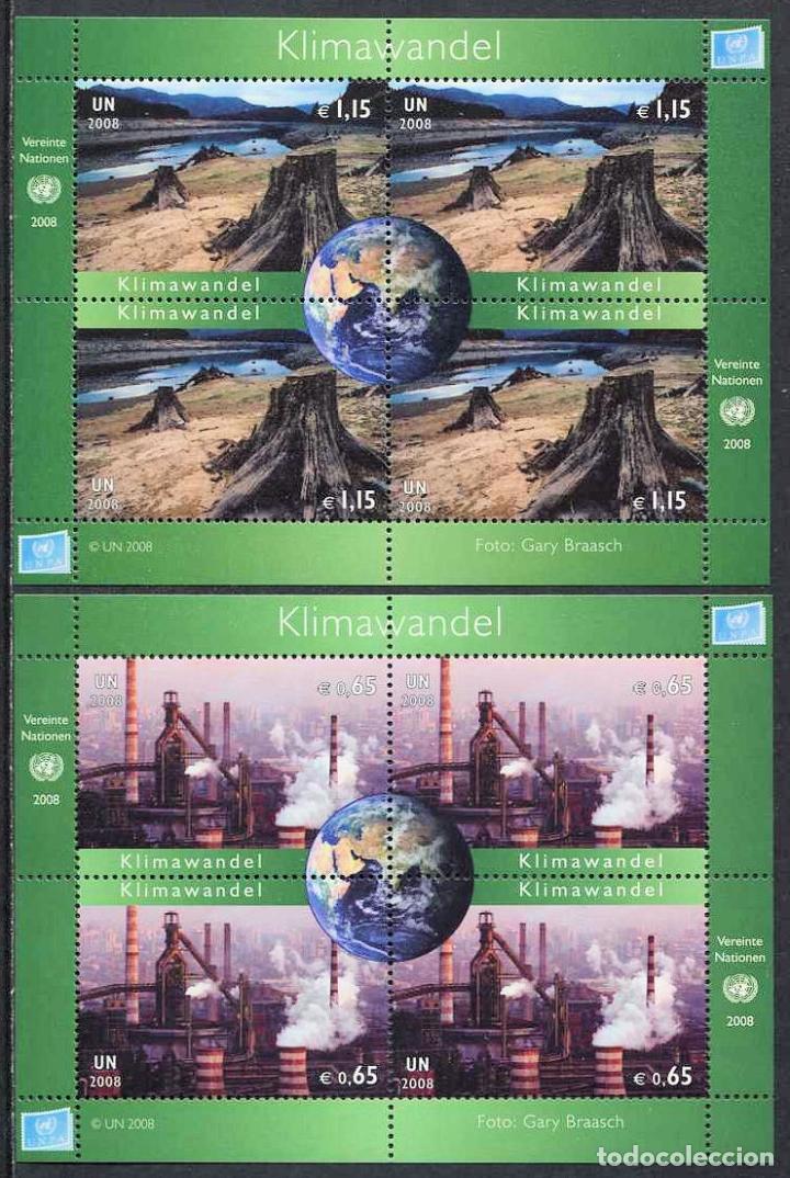 NACIONES UNIDAS (SEDE VIENA) - CAMBIO CLIMATICO - 2 HB (2008) ** (Sellos - Extranjero - Europa - Otros paises)