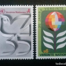 Sellos: CENTRO INTERNACIONAL DE VIENA , YVERT Nº 12 - 13 ** SIN CHARNELA , 1980. Lote 86857008