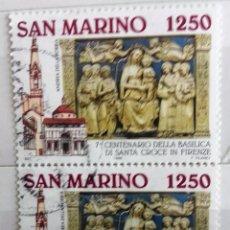 Sellos: SAN MARINO, BLOQUE DE 2 SELLOS USADOS . Lote 95691715