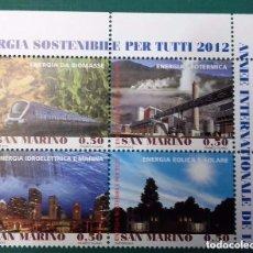 Sellos: SAN MARINO, REPÚBLICA DE, 2012, BLOQUE CON 4 SELLOS DIFERENTES, ENERGÍA SOSTENIBLE, NUEVOS . Lote 95692635