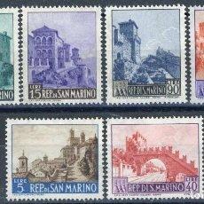 Sellos: SAN MARINO 1966 IVERT 666/71 *** SERIE BÁSICA - TURISMO - PAISAJES Y MONUMENTOS. Lote 99534347