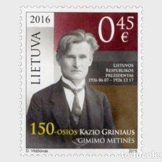 Sellos: LITUANIA 2016 EL 150 ° ANIVERSARIO DE NACIMIENTO DE KAZYS GRINIUS. Lote 101705627