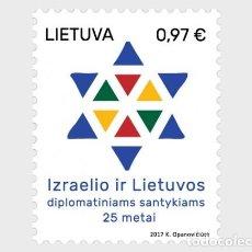 Sellos: LITUANIA 2017 25 ° ANIVERSARIO DE LA RELACIÓN DIPLOMÁTICA ENTRE ISRAEL Y LITUANIA. Lote 101706503