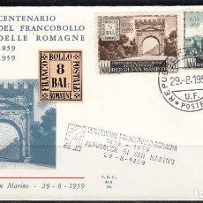 Sellos: SAN MARINO , SOBRE CENTENARIO DEL SELLO ROMAGNE , 1959 YVERT Nº 471 , AÉREO Nº 119. Lote 107665159