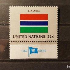 Sellos: SELLO NUEVO NACIONES UNIDAS.1986-09-19.ONU.OFICINA N. YORK. BANDERA GAMBIA. YT NT-NY 470. Lote 118299555