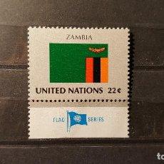 Sellos: SELLO NUEVO NACIONES UNIDAS.1986-09-19.ONU.OFICINA N.YORK. BANDERA ZAMBIA. YT NT-NY 474. Lote 118300219