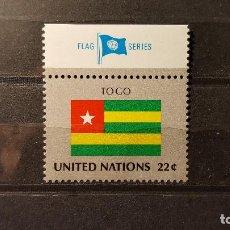 Sellos: SELLO NUEVO NACIONES UNIDAS.1986-09-19.ONU.OFICINA N.YORK. BANDERA TOGO. YT NT-NY 480. Lote 118300283