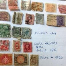 Sellos: LOTE 23 SELLOS EUROPA AÑOS 1896 A 1920. HUNGRIA-POLONIA-ITALIA-AUSTRIA SUIZA-RUMANIA-ESLOV ETC.USADO. Lote 128033083
