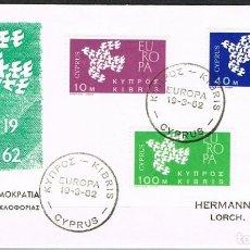Sellos: [CF4191A] CHIPRE 1962, FDC EUROPA (SR). Lote 128189007