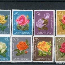 Sellos: ALBANIA 1967 IVERT 977/84 *** ROSAS HIBRIDAS - FLORA. Lote 135289106