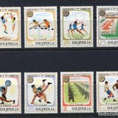 Sellos: ALBANIA 1974 IVERT 1545/52 *** SPARTAKIADAS NACIONALES - DEPORTES. Lote 135392162