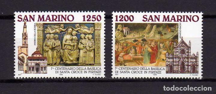 SAN MARINO 1995 IVERT 1402/3 *** 7º CENTENARIO BASILICA DE LA SANTA CRUZ - MONUMENTOS (Sellos - Extranjero - Europa - Otros paises)