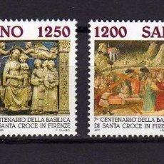 Sellos: SAN MARINO 1995 IVERT 1402/3 *** 7º CENTENARIO BASILICA DE LA SANTA CRUZ - MONUMENTOS. Lote 138795870
