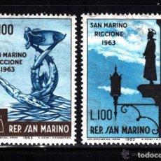 Sellos: SAN MARINO 1963 IVERT 597/98 *** JORNADA FILATELICA - MONUMENTOS. Lote 146515322
