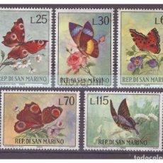 Timbres: SAN MARINO 1963 IVERT 599/603 *** MARIPOSAS Y FLORES - FAUNA Y FLORA. Lote 228874950