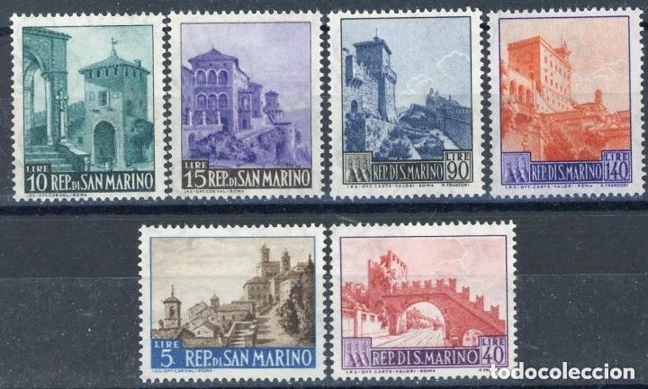 SAN MARINO 1966 IVERT 666/71 *** SERIE BÁSICA - TURISMO - PAISAJES Y MONUMENTOS (Sellos - Extranjero - Europa - Otros paises)