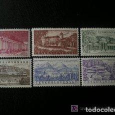 Sellos: CHECOSLOVAQUIA 1958 IVERT 969/74 *** BALNEARIOS CHECOSLOVACOS - MONUMENTOS. Lote 147465666
