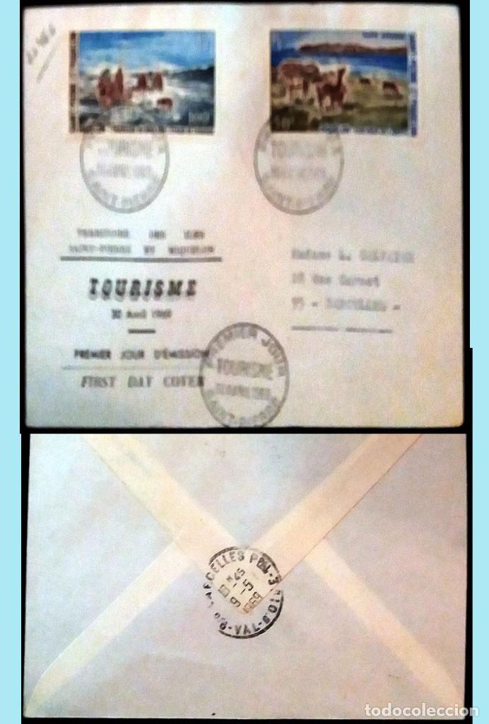 SAINT-PIERRE ET MIQUELON-1969 CARTA CIRCULADA PRIMER DIA DE EMISION DE TURISMO A SARCELLES.REVERSO (Sellos - Extranjero - Europa - Otros paises)