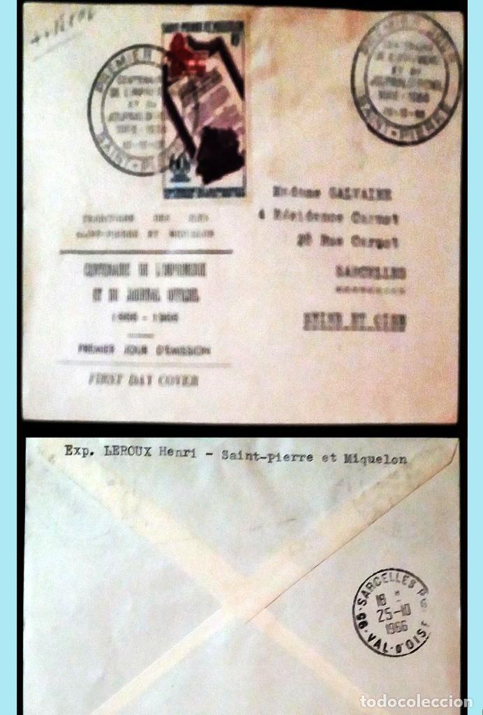 SAINT-PIERRE ET MIQUELON-1956 CARTA CIRCULADA PRIMER DIA DE EMISION CENT.LA PRENSA A SARCELLES.REV. (Sellos - Extranjero - Europa - Otros paises)
