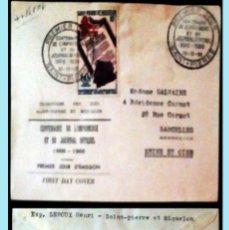 Sellos: SAINT-PIERRE ET MIQUELON-1956 CARTA CIRCULADA PRIMER DIA DE EMISION CENT.LA PRENSA A SARCELLES.REV.. Lote 149545590