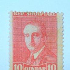 Sellos: SELLO POSTAL ALBANIA 1925, 10 QIND, PRESIDENTE AHMED ZOGU, SIN USAR*. Lote 149909202