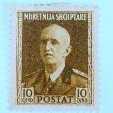 Sellos: SELLO POSTAL ALBANIA 1939, 10 QIND, REY VICTOR EMMANUEL III , SIN USAR. Lote 149910002