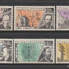Sellos: CHECOSLOVAQUIA 1959 IVERT 1053/58 *** SERIE DE LA RADIO - INVENTORES. Lote 150277802