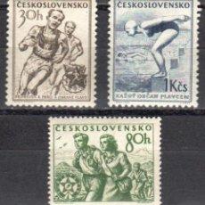 Sellos: CHECOSLOVAQUIA - 1 SERIE IVERT 765-67 (3 VALORES) - DEPORTES 1954 - NUEVO CON GOMA ORIGINAL. Lote 151424538