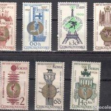 Sellos: CHECOSLOVAQUIA - 1 SERIE IVERT 1388-94 (7 VALORES) - VICTORIA OLIMPICA 1965 - NUEVO GOMA ORIGINA. Lote 151426298