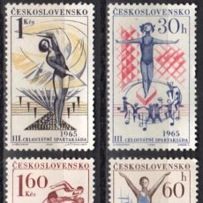 Sellos: CHECOSLOVAQUIA - 1 SERIE IVERT 1404-07 (4 VALORES) - 3º NACIONAL SPARTAKIAD 1965 -NUEVO GOMA ORIGINA. Lote 151427006