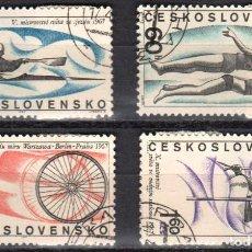 Sellos: CHECOSLOVAQUIA - 1 SERIE IVERT 1556-59 (4 VALORES) - DEPORTES 1969 - NUEVO MATASELLADO GOMA ORIGINAL. Lote 151428110