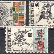 Sellos: CHECOSLOVAQUIA - 3 SELLOS IVERT 1802-03-04 (3 VALORES) - MUNDIAL FUTBOL MEXICO 1970-MATASELLADO GOMA. Lote 151429378