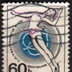 Sellos: CHECOSLOVAQUIA - 1 SELLOS IVERT 1967 (1 VALOR) - MUNDIAL PATINAJE ARTISTICO 1970 - USADO. Lote 151430022