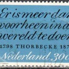 Sellos: HOLANDA - 1 SELLO IVERT #965 - THORBECKE J.R.. - AÑO 1972** - USADO. Lote 153598302