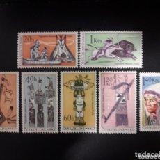 Sellos: CHECOSLOVAQUIA 1966 IVERT 1492/98 *** CENTENARIO MUESEO ETNIOLOGICO DE PRAGA - INDIOS AMERICA NORTE. Lote 153655634