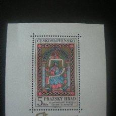 Sellos: CHECOSLOVAQUIA 1967 HB IVERT 31 *** CASTILLO DE PRAGA - VIDRIERA DEL SIGLO XI. Lote 154690938